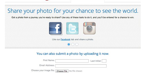 Screenshot of American Airlines sweepstakes
