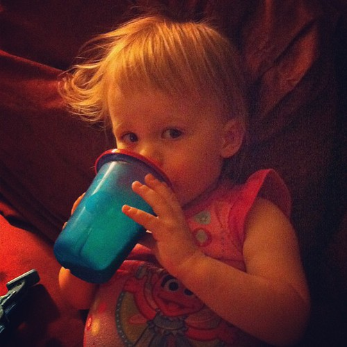 "Big girls drink their milk out of sippy cups, not a ""baba."" (The bottle is ALL GONE now. I can't believe it.)"