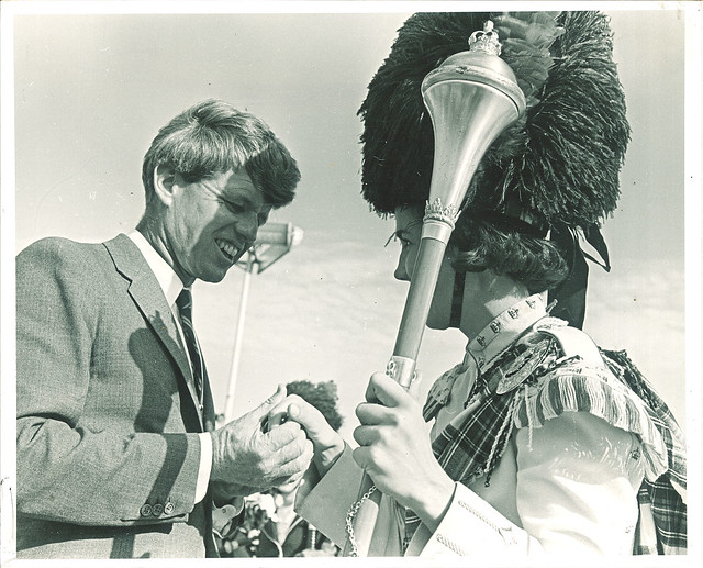 Sen. Robert Kennedy greets Scottish Highlander, The University of Iowa, 1966