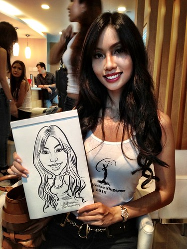 caricature live sketching for Orchard Scotts Dental for Miss Universe Singapore - 9