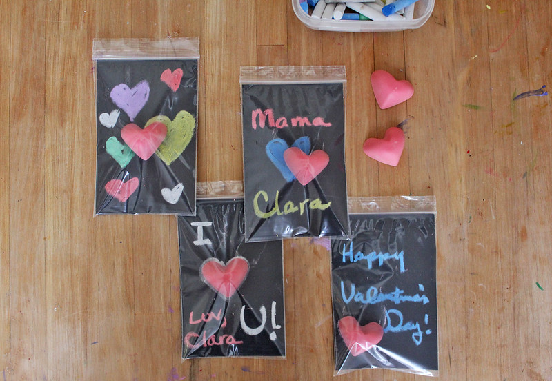 Use chalkboard paper to make sweet DIY Valentines.
