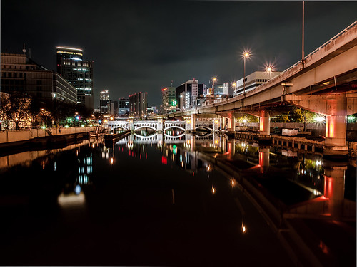 bridge light reflection building japan architecture night river lumix landscapes osaka nightview gf2