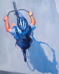 """""""Boy Riding Bicycle at the Beach"""" now available at Artfinder.com/Warren-Keating #figurativeart #aerial #impressionism #artcollector #interiordesign #bicycle #oilpainting"""