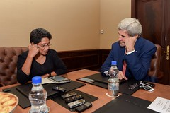 U.S. Secretary of State John Kerry conducts an interview with Times of India journalist Indrani Bagchi on August 31, 2016, at the Leela Palace Hotel in New Delhi, India, during a visit to India for a series of bilateral meetings. [State Department Photo/ Public Domain]