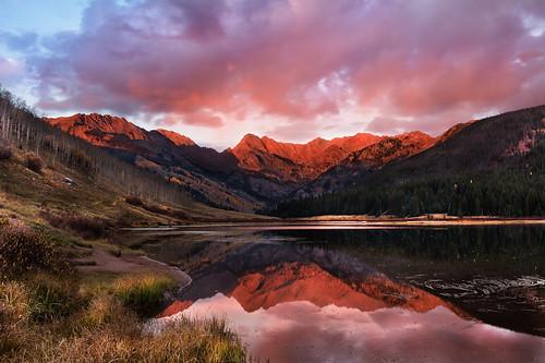 sunset mountain lake reflection fall water grass clouds fallcolor aspen pinetrees alpenglow eaglesnestwilderness gorerange pineylake coloradolandscape pineyriverranch