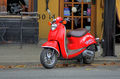 scooter, vehicle, red, vespa,
