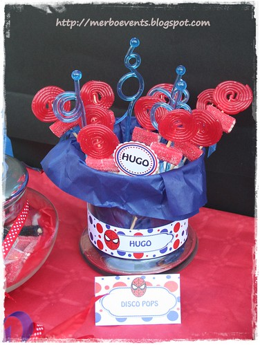 Disco pops  Kit de fiesta spiderman. Merbo events