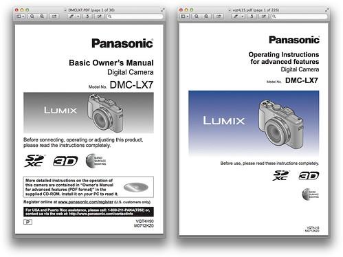 Panasonic LX7 -- Basic & Advanced Manuals
