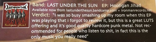 Last Under The Sun - Hooligan Jihad CD Review October 2012