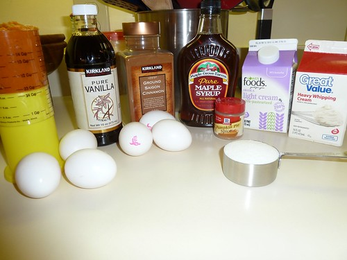 Ingredients for Maple Pumpkin Custard