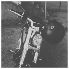 spotted in the alley. #motorcycle #blackandwhite