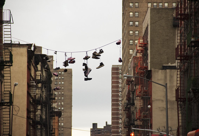 Shoefiti with a touch of Olek