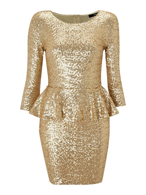 Long Sleeved Peplum Sequin Dress