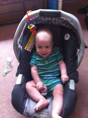 Too big for his infant car seat!