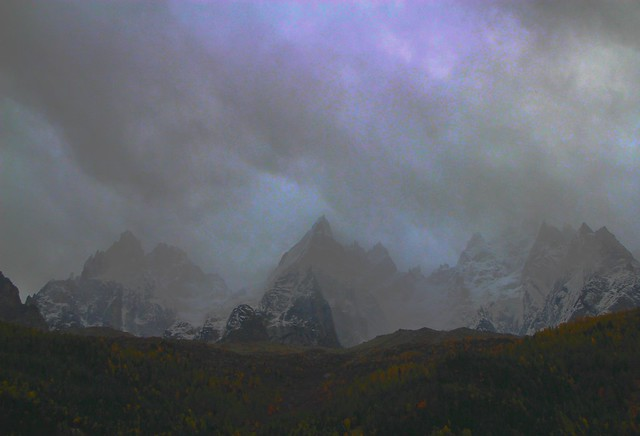 heavy snowstorm at the Aiguilles of Chamonix