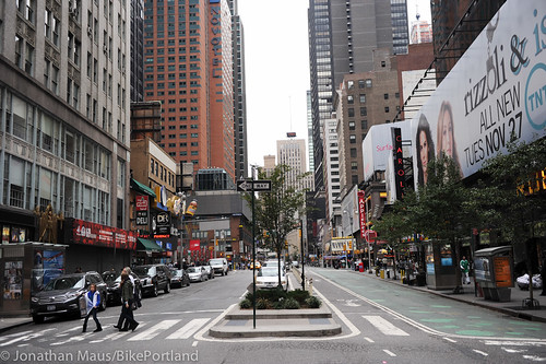 Broadway protected bike lane and plazas-14