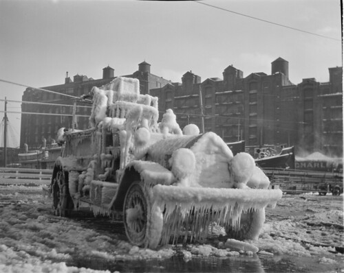 Ice covered fire engine