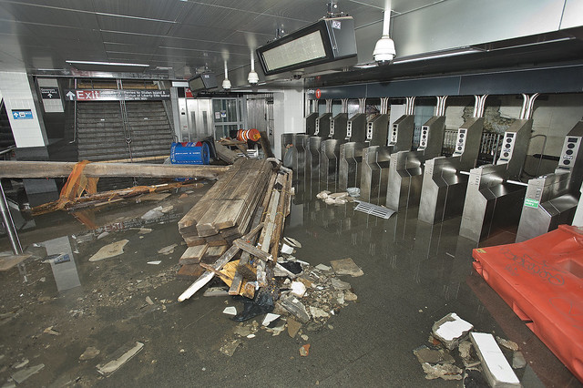 South Ferry subway station after being flooded by seawater during Hurricane Sandy