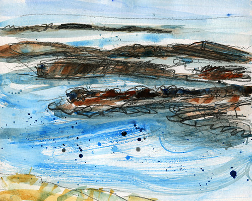 Iceland sketches: Breidafjordur, lefthand section of sketch
