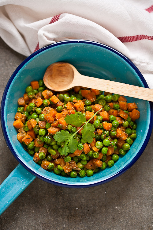 Stir fried carrots and peas