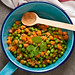 Stir fried carrots and peas