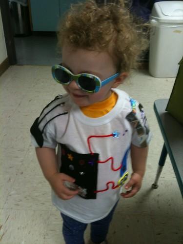 Rockin' the robot shirt dad made