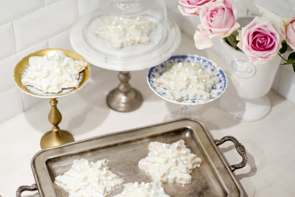 winter shortbread snowflake cookies