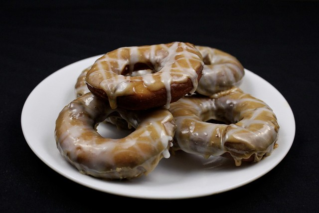 honey donuts with cherry honey beer glaze