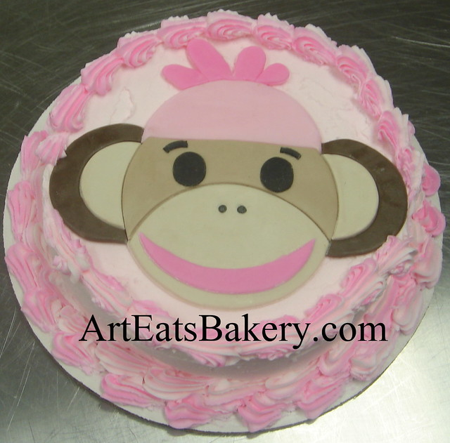 Cake Designs By Jackie Brown : Girl s creative pink butter cream and brown fondant sock ...