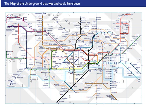 London Underground Tube Map Showing All Ghost Stations Unbuilt