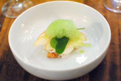 dungeness crab, apple, pomelo, tarragon, kohlrabi, wood sorrel (animal)