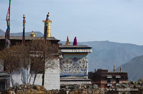 Monjo en el sostre d'un dels monestirs de Labrang