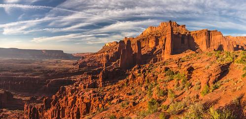 sunset panorama usa utah sandstone desert moab fishertowers