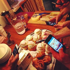 How many instagramers does it take to capture the dessert at a brunch?
