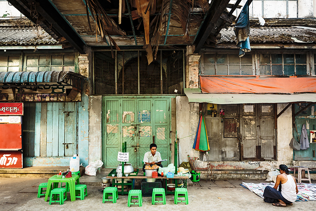 Colonial architecture of Yangon in Myanmar
