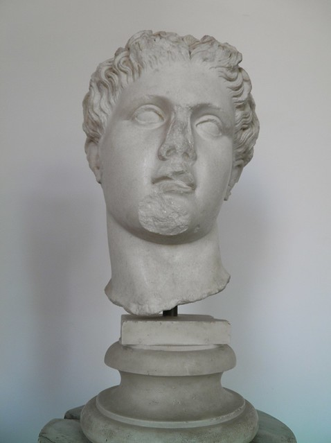 Head of the type of the Anzio Apollo, Roman copy from the late Flavian period after a Greek original from the second half of the 4th century BC, from the Domus Augustana on the Palatine Hill, Palatine Museum, Rome