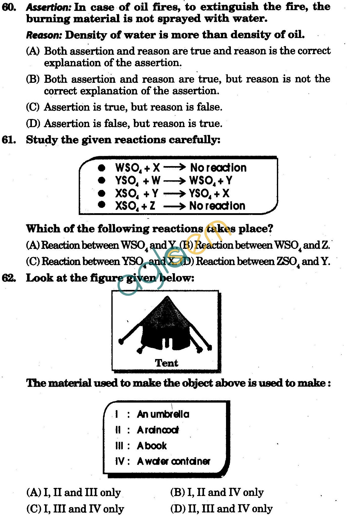 NSTSE 2010: Class VIII Question Paper with Answers - Chemistry
