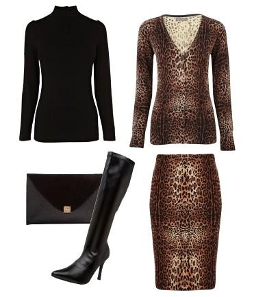 leopard print skirt and cardigan