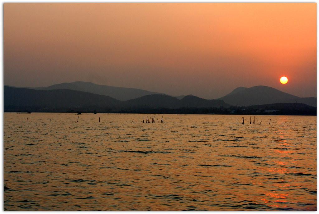 Pin Sunset At Chilika Lake Wallpaper And Stock Images