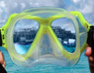 Close Up of City in Goggles (Ocean)