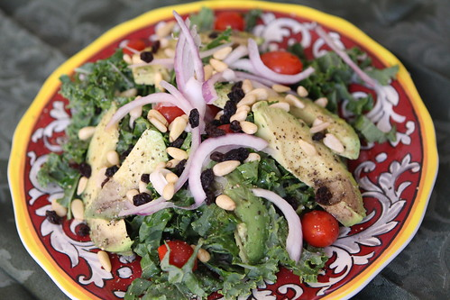 Kale and Avocado Salad with Grape Tomatoes, Red Onion, and Pine Nuts