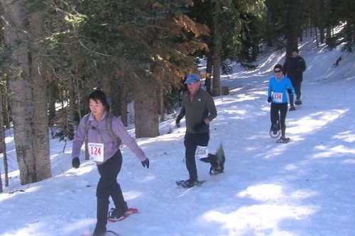 Participants in the Sandia Snowshoe Race make their way on a trail through the Cibola National Forest outside of Albuquerque, N.M. The race supports maintenance of trails and picnic areas on the forest. Photo courtesy of Friends of the Sandia Mountains.