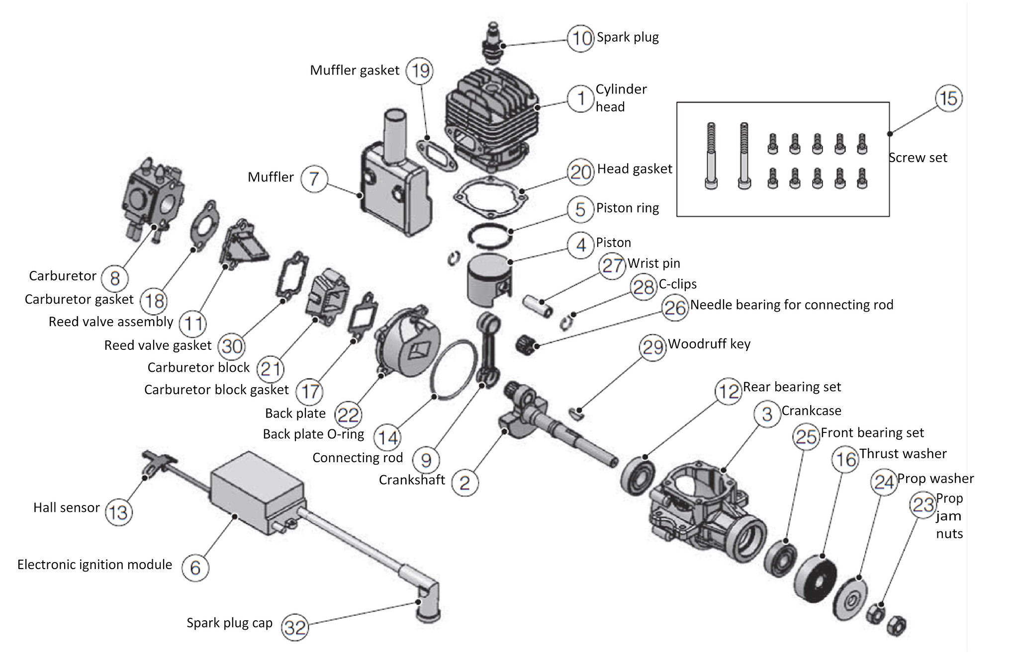 dle 20 exploded diagram - labeled