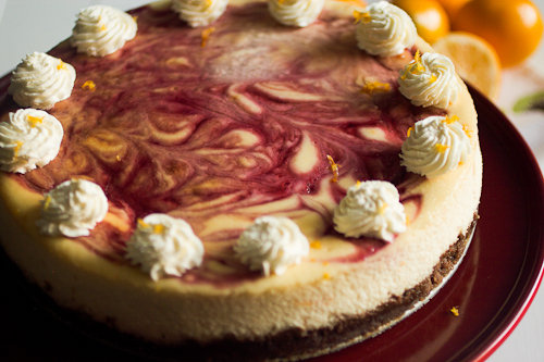 Meyer Lemon Raspberry Swirl Cheesecake