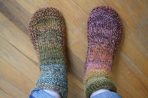 Knitting Pattern For Mukluk Slippers : knitted :: handspun Mukluk Slippers earthchicknits