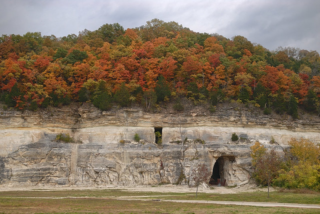 Fall colors above sandstone mines in Pacific, Missouri, USA