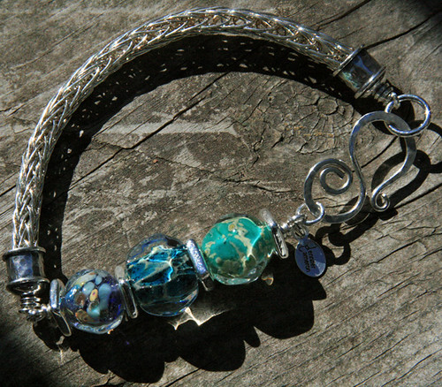 Viking Knit and lampwork bead bracelet jennifer cameron glass addictions