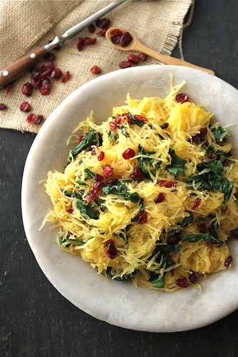 Spaghetti Squash with Swiss Chard, Dried Cranberries & Dijon Vinaigrette Recipe by Cookin' Canuck