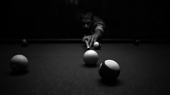 [Free Images] Sports, Ball Games, Cue Sports, Black and White ID:201210251200