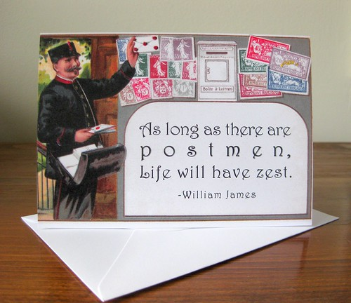 Notecards: Zesty French postman with quote
